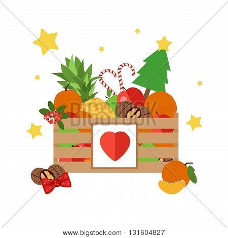 Christmas wooden box isolated on white background. Box with fruit and dessert in a flat style. The background of fresh natural foods. Cart with product buy in supermarket. Vector illustration.
