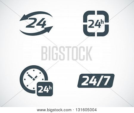 Vector black 24 hours icons set on white background