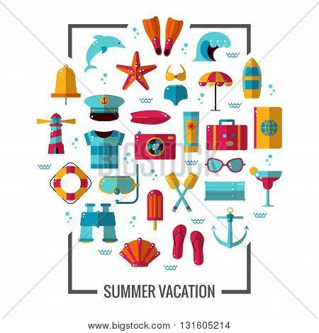 Summer icon illustration poster. Colorful sea vacation concept. Vector flat design pictograms set for flyers banners or brochure.