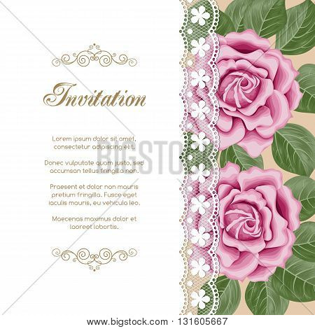 Vintage floral invitation template with hand drawn flowers and lace border. Illustration in retro style. Vector