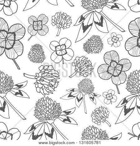 Clever trefoil vector seamless pattern line black and white