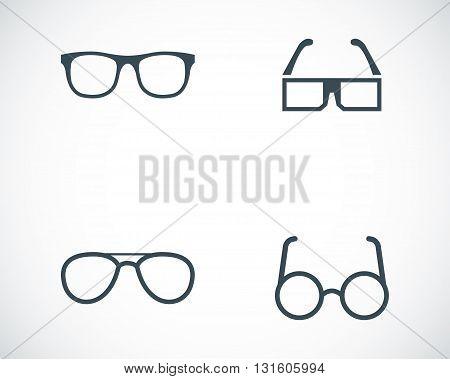 Vector black glasses icons set on white background