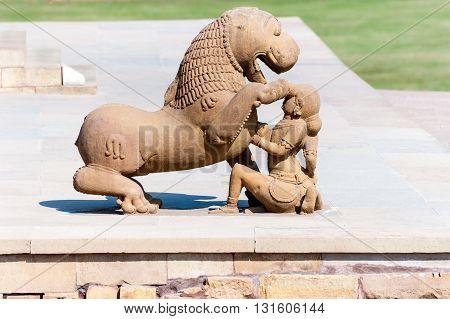 Stone sculpture in Hindu temple in Khajuraho India. Unesco World Heritage Site