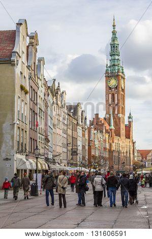 GDANSK, POLAND - NOVEMBER 13: City Hall seen from Long Street in Gdansk on November 13, 2010 in Gdansk.