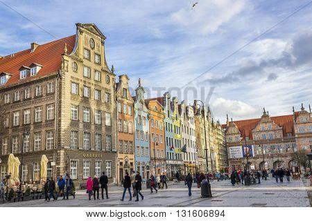 GDANSK, POLAND - NOVEMBER 13: Antique tenements in the center of Gdansk on November 13, 2010 in Gdansk.