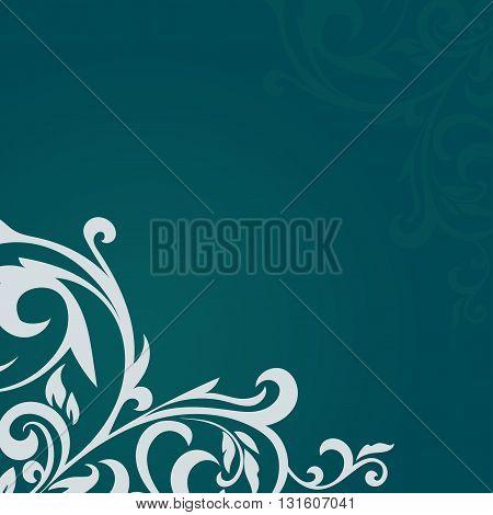 Beautiful vintage pattern on a green background. Beautiful card with a floral pattern. Beautiful pattern. Vector Illustration.