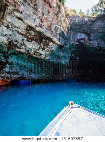 Melissani Lake On Kefalonia Island, Greek Famous Tourist Place