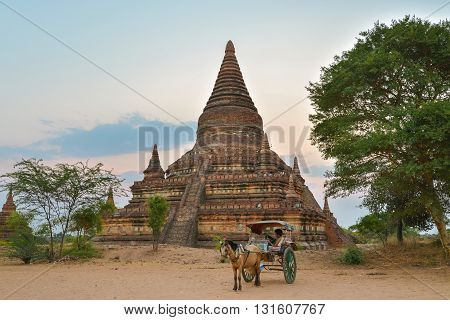 Bagan, Myanmar - April 22, 2016 : Bulethi pagoda at Sunrise in Bagan Myanmar