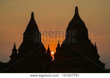 Silhouette of Bulethi pagoda at Sunrise in Bagan Myanmar