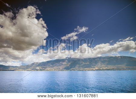 Kefalonia With Mount Ainos, Greek Island View From Ionian Sea