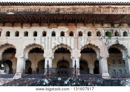 Architectural detail of Jahangir Mahal in Orchha, Madhya Pradesh, India