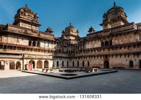 Jahangir Mahal courtyard in Orchha, Madhya Pradesh, India