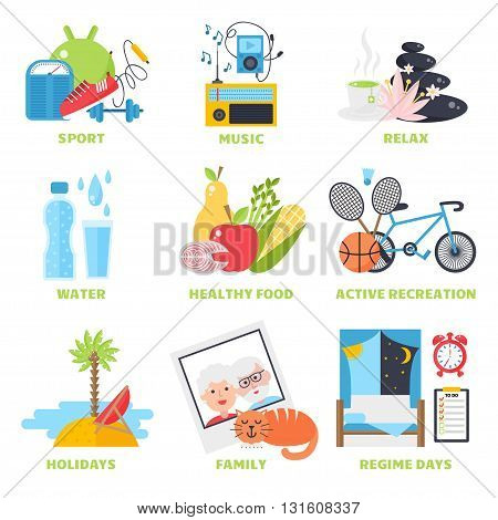Healthy lifestyle concept, diet and fitness healthy lifestyle vector illustration. Healthy lifestyle fitness sport and healthy lifestyle diet fresh nutrition. Healthy lifestyle sport, fresh eating.