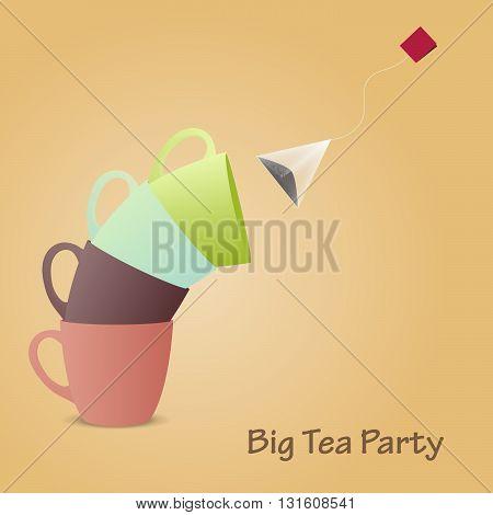 Tea cups pyramid. Big tea party. Vector illustration.