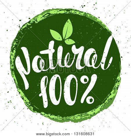Logo Natural with leaves natural product organic healthy food. Organic food badge in vector (cosmetic food). Lettering Natural