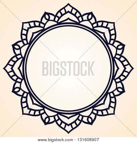 Vector frame in shape of a circle. Ornate element for design. Vintage round frame. Vector linear ornament template
