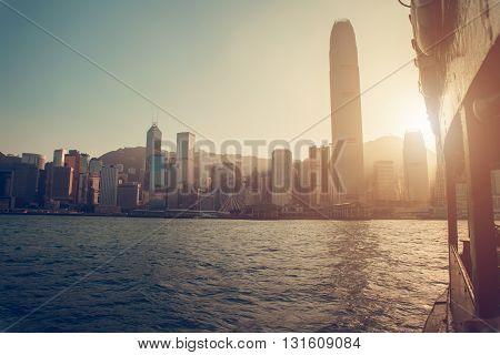 Hong Kong, China - November 28, 2015: City view from the ship on the river