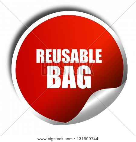 reusable bag, 3D rendering, a red shiny sticker