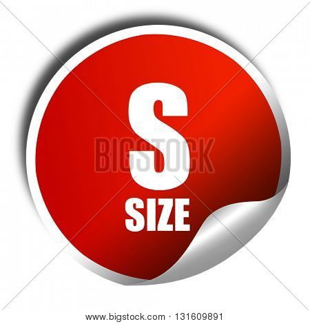 s size, 3D rendering, a red shiny sticker
