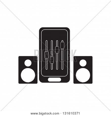 Flat icon in black and  white Mobile phone speakers