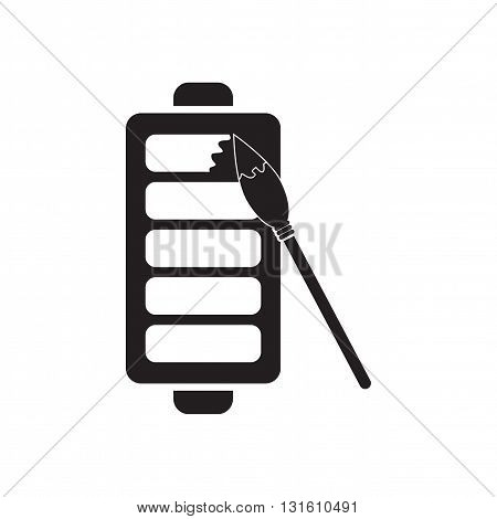 Flat icon in black and  white mobile phone battery