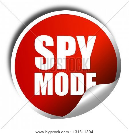 spy mode, 3D rendering, a red shiny sticker
