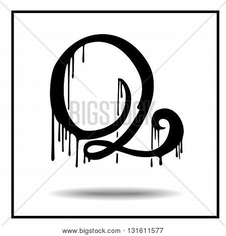 Melted grunge font. Vector illustration. Bloody letters. Melted letter Q