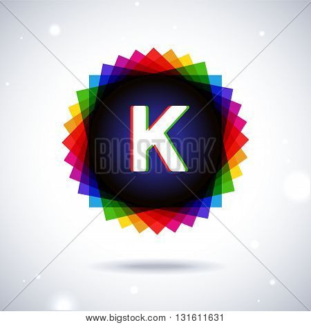 Spectrum logo icon with shadow and particles. Letter K