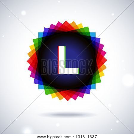 Spectrum logo icon with shadow and particles. Letter L