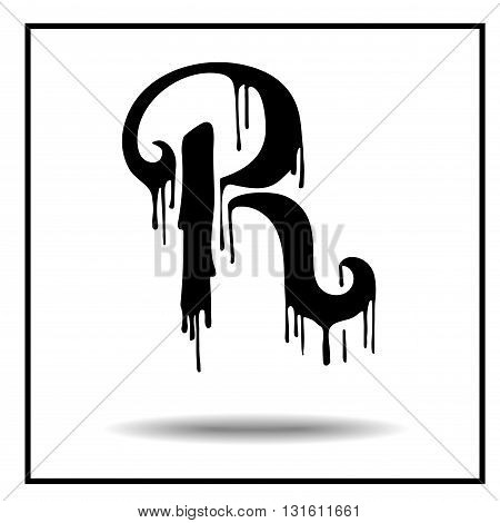 Melted grunge font. Vector illustration. Bloody letters. Melted letter R