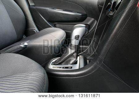 Car interior. Automatic transmission gear shift.. interior, car, stick, move, chrome