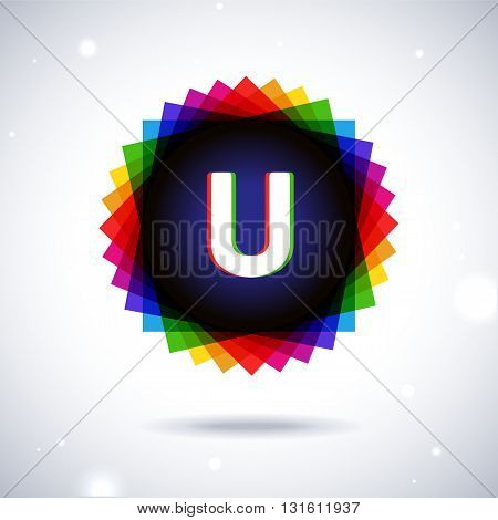 Spectrum logo icon with shadow and particles. Letter U