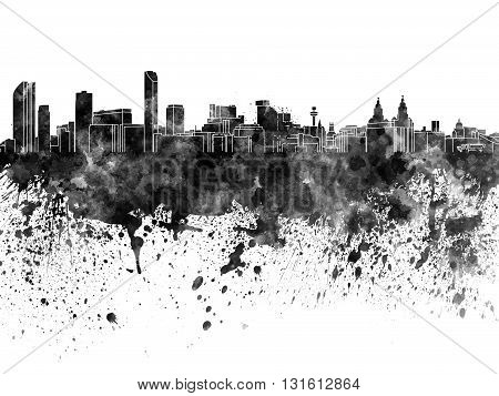 Liverpool skyline in artistic abstract black watercolor
