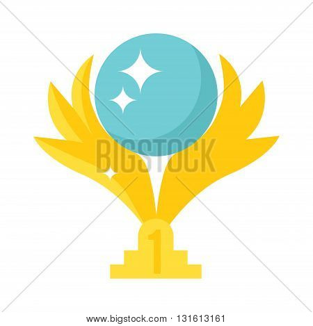 Golden badge with wings isolated on white. Vector illustration wings award and wings award design symbol emblem. Heraldic label arms wings abstract sport wings award. Winner celebration wings prize.