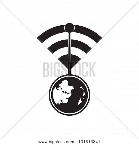 Flat icon in black and white  global network