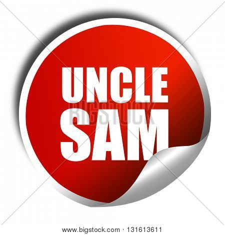 uncle sam, 3D rendering, a red shiny sticker