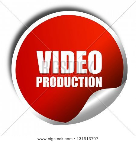 video production, 3D rendering, a red shiny sticker