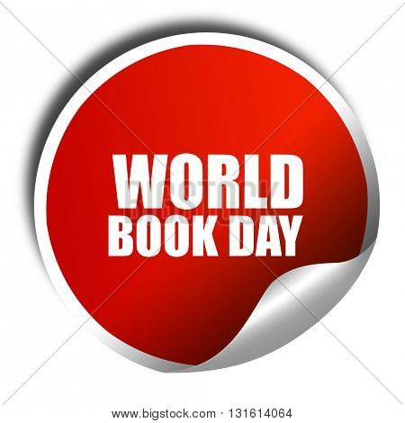 world book day, 3D rendering, a red shiny sticker