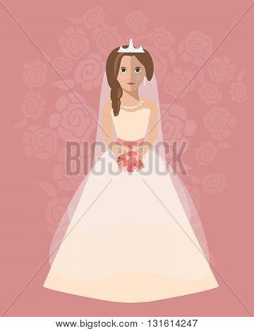 The bride in a long wedding dress with a bouquet of flowers. Vector illustration in a flat style. Wedding poster invitation decoration. Wedding fashion A-Line style