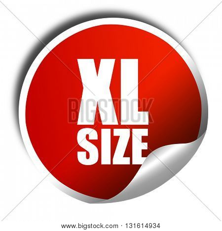 xl size, 3D rendering, a red shiny sticker