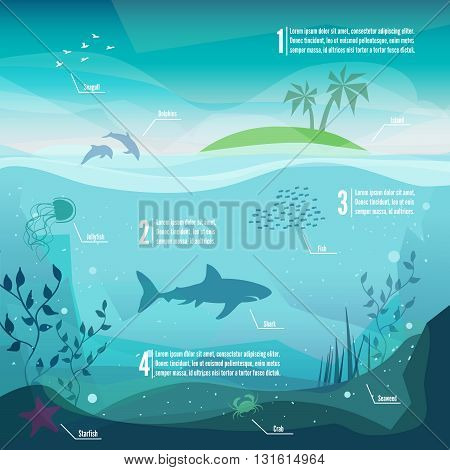 Underwater infographics. Landscape of marine life - Island in the ocean and underwater world with different animals. Low polygon style flat illustrations. For web and mobile phoneprint.