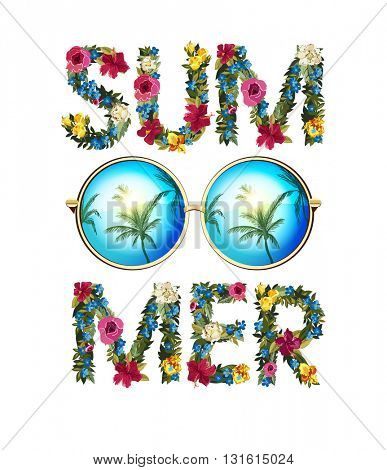 Summer Illustration. Vector sunglasses with reflected palms. Floral lettering summer background.