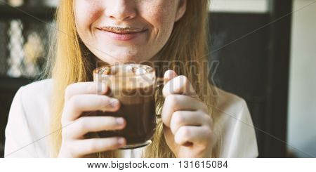 Youth Woman Drinks Hot Chocolate Tasty Concept