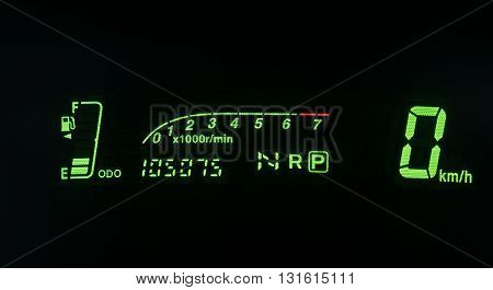 Modern car illuminated dashboard closeup. Car, Dashboard, Panel, Control,