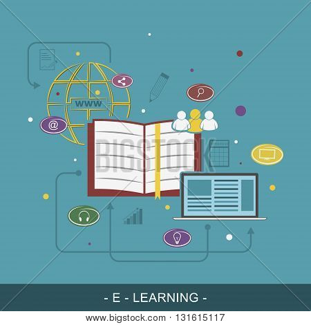 E-Learing flat illustration concept. Editable vector background for your website banner or promotion materials.