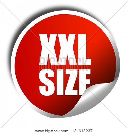 xxl size, 3D rendering, a red shiny sticker