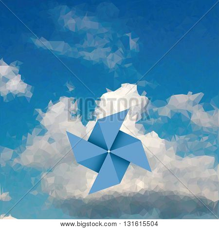 vector blue paper windmill over cloud, low poly illustration