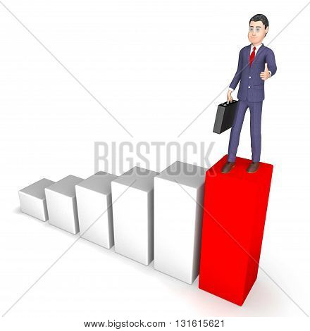Businessman Character Means Success Successful And Advance 3D Rendering