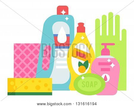 Plastic detergent household chemicals bottles on white. Cleaning products household chemicals and housework, equipment household chemicals domestic product liquid. Housekeeping disinfect tool.