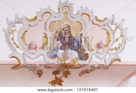 ZIEMETSHAUSEN, GERMANY - JUNE 09: Jesus the Good Shepherd, fresco in the Maria Vesperbild Church in Ziemetshausen, Germany on June 09, 2015.